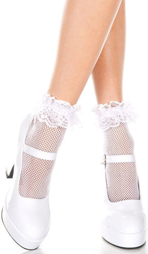 Sexy White Fishnet Ruffle Lace Top Women's Ankle Socks