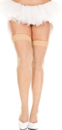 Plus Size Sheer Nude Thigh High Stockings with Plain top