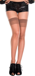 Plus Size Sheer Tan Thigh High Stockings with Plain Top
