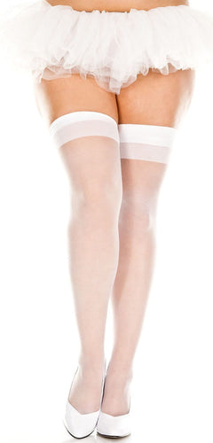 Sexy Sheer Plus Size White Thigh Highs with Plain Top