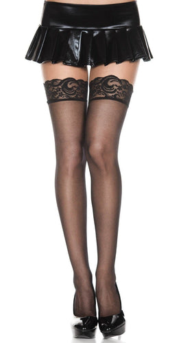 Sexy Sheer Black Thigh Highs with Silicone Stay Up Lace Top