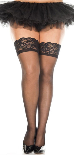 Sexy Sheer Black Plus Size Thigh Highs with Silicone Stay Up Lace Top
