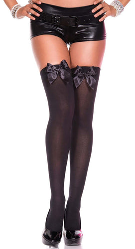 Thigh High Stockings with Bows-Black/Black Bow