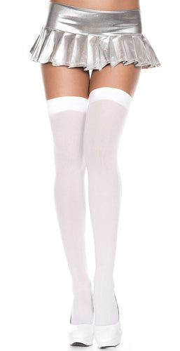 Women's Opaque White Plain Top Thigh High Lingerie Stockings Main Image