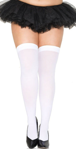 White Plus Size Women's Opaque Thigh High Lingerie Hosiery Stockings Main Image