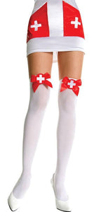 White Nurse Women's Opaque Thigh High Stockings With Red Satin Bows And Crosses Lingerie Hosiery Main Image