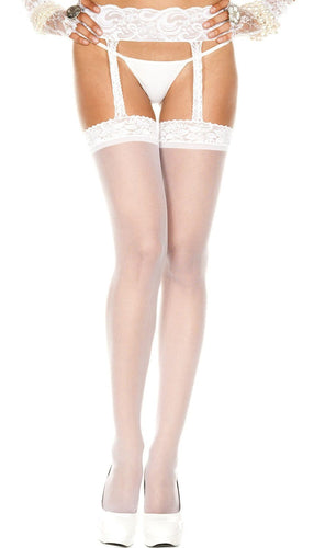 Sheer White Lace Top and Garter Belt Thigh High Stockings
