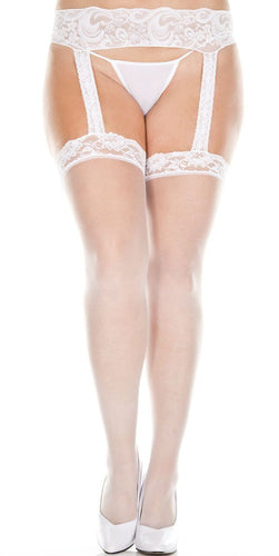 Plus Size Sheer White Lace Top Thigh Highs with Garter Belt