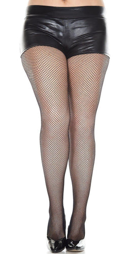 Women's Plus Size Pantyhose in Black Fishnet