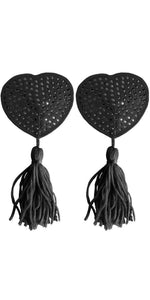 Black Rhinestone Heart Shaped Nipple Pasties with Tassels - Product Image