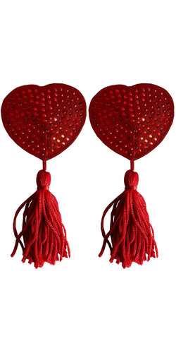 Red Rhinestone Heart Shaped Nipple Pasties with Tassels - Product Image