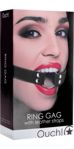Ouch Silver Ring Gag with Black Leather Straps