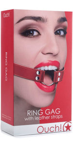 Ouch Silver Ring Gag with Red Leather Straps