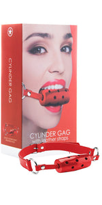 Ouch Red Cylinder Gag with Red Leather Straps - Main Image