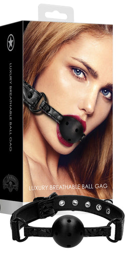 Ouch Luxury Black Diamond Pattern Breathable Bondage Ball Gag - Main Image