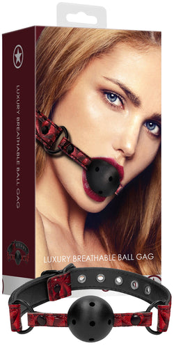 Burgundy Red Diamond Pattern Breathable Ball Gag - Main Image