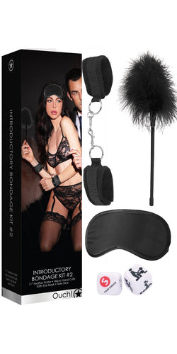 Black Introductory To Bondage Kit #2 Ouch With Cuffs, Blindfold, Tickler and Sex Dice - Main Image