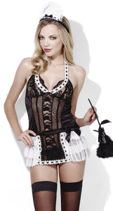 Sexy Women's Black And White Mesh And Lace French Maid Bedroom Costume Main Image