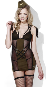 Sexy Women's Army Major Khaki Green And Black Strappy Lingerie Costume Dress Main Image