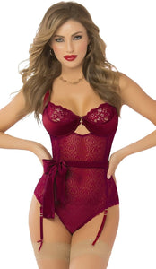 Women's Burgundy Lace Sexy Teddy Lingerie Front Image
