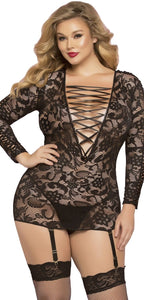 Black Lace Long Sleeve Plus Size Sexy Chemise Front Image