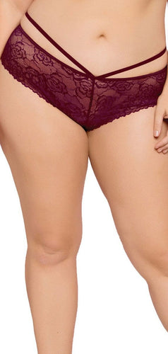Burgundy Plus Size Lace Panties for Women Front View
