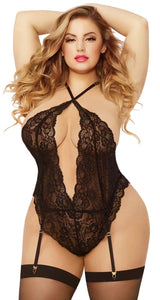 Sexy Plus Size Black Lace Teddy and Stockings Set Front Image