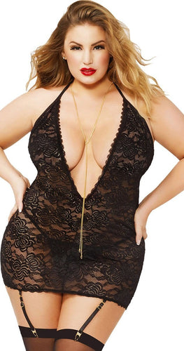 Plus Size Women's Sexy Black Lace Chemise Lingerie Front View