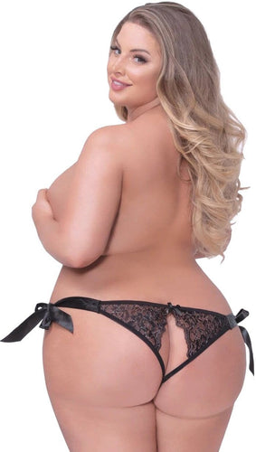 Black Lurex and Lace Plus Size Panties Back Image