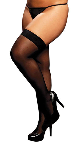 Thigh High Sheer Stockings in Black