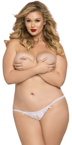 Women's Plus Size White Lace Open Crotch Thong Front Image