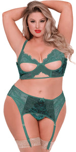 Green Velvet and Lace Plus Size Bra Set for Women - Front Image