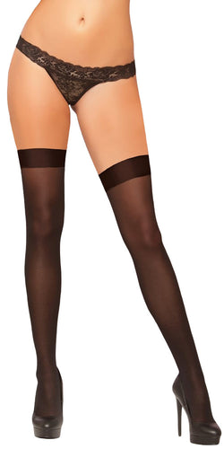 Women's Sexy Sheer Plain Black Thigh High Lingerie Stockings with Plain Top