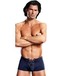Tie Up Navy Blue Lycra Boxer Shorts