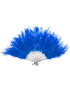 Feather Hand Held Fan in Blue
