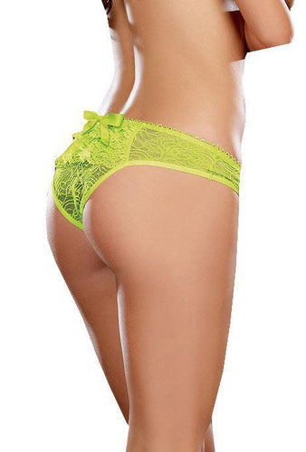 Women's Lace Crotchless Panties in Neon Green