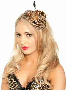 Leopard Print Burlesque Mini Top Hat
