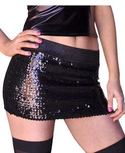 Sequined Black Mini Skirt Clubwear