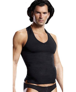 V Neck Men's Lingerie Tank Top in Black