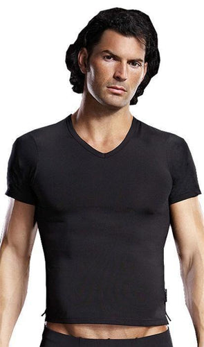 Lycra V-Neck Men's Lingerie Tee - Black