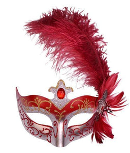 Venetian Side Feather Mask - Red