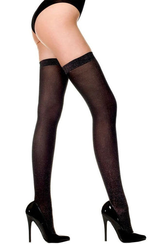 Black and Silver Lurex Thigh High Lingerie Stockings Main Image