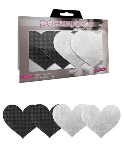 White Satin and Black Houndstooth Printed Pasties Main Image
