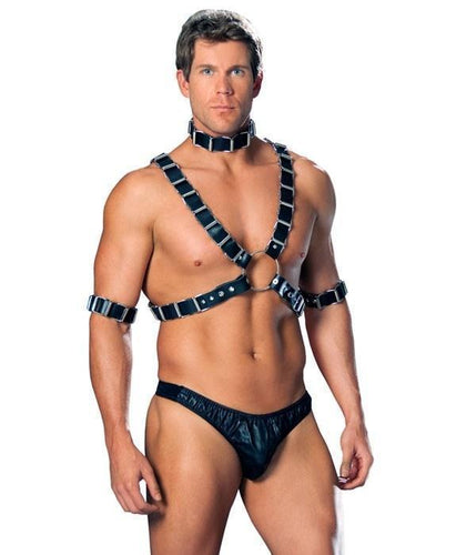 Chained Leather Men's Bondage Harness Lingerie