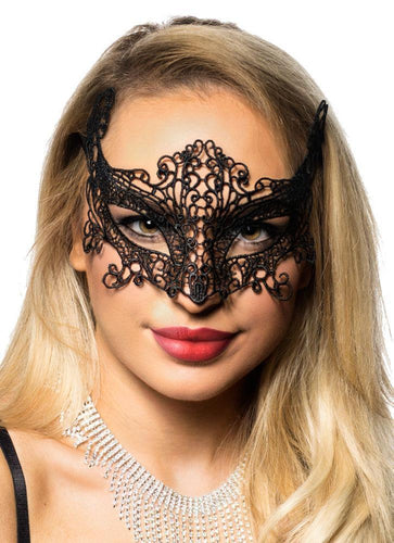 Cat Eyes Sexy Black Lace Mask Bedroom Accessory Main Image