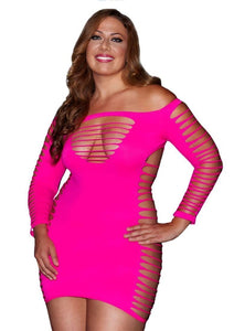 Hot Pink Plus Size Lingerie Mini Dress Chemise