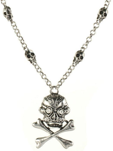 Silver Skull and Cross Bones Necklace