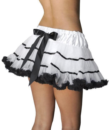 Fluffy Burlesque Petticoat with Bow - White