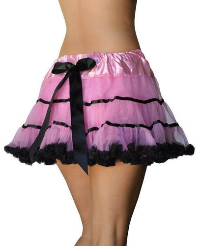 Fluffy Burlesque Petticoat with Bow - Pink