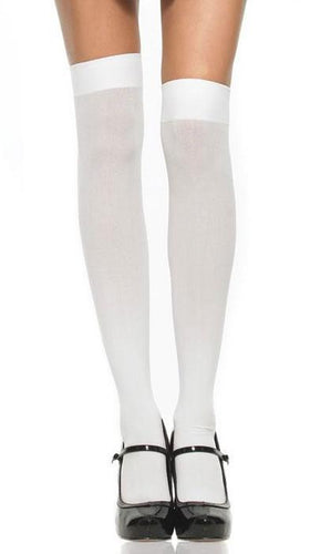 Thigh High Opaque White Stockings